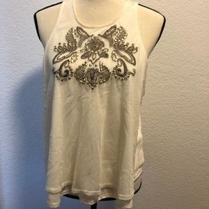 Hollister Women's Ivory Gold Sequined Tank Top